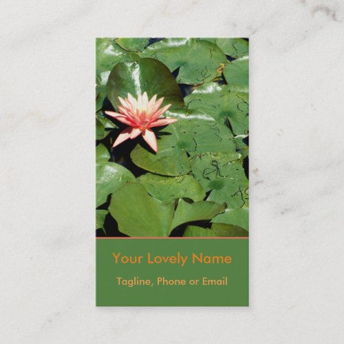 Peach Water Lilies, Green Lily Pads, Lotus Flowers Business Card