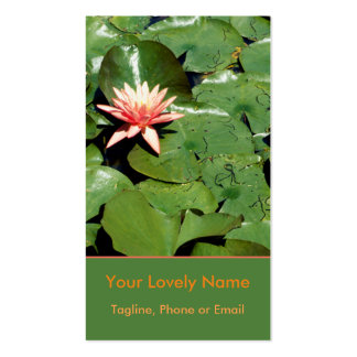 Peach Water Lilies, Green Lily Pads, Lotus Flowers Double-Sided Standard Business Cards (Pack Of 100)