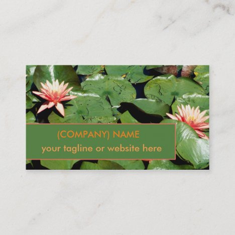 Peach Water Lilies, Lotus Flowers, Green Lily Pads Business Card