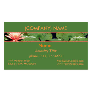 Peach Water Lilies, Lotus Flowers, Green Lily Pads Double-Sided Standard Business Cards (Pack Of 100)