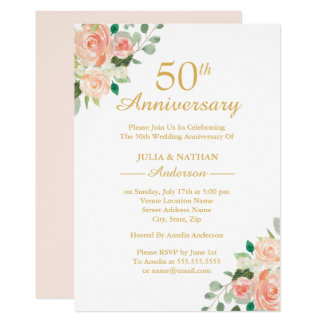 Peach Watercolor Floral 50th Wedding  Anniversary Invitation