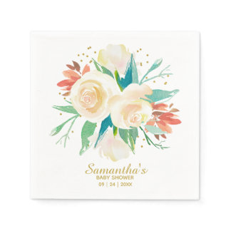 Peach Watercolor Floral Baby Shower Napkin