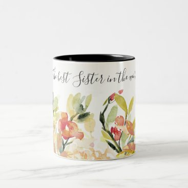 Bride Themed PEACH WATERCOLOR FLORAL BEST SISTER IN THE WORLD Two-Tone COFFEE MUG