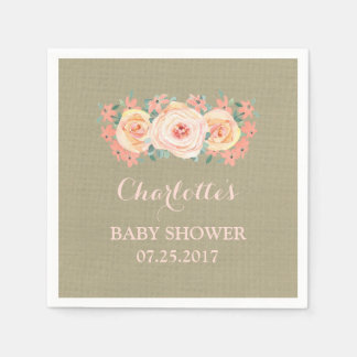 Peach Watercolor Floral Burlap Baby Shower Paper Napkin