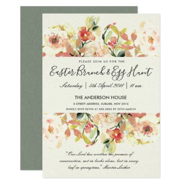 Bride Themed PEACH WATERCOLOR FLORAL EASTER BRUNCH & EGG HUNT CARD
