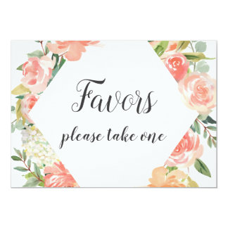 Peach Watercolor Floral Favors Sign Card