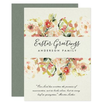 Bride Themed PEACH WATERCOLOR FLORAL HAPPY EASTER GREETINGS CARD