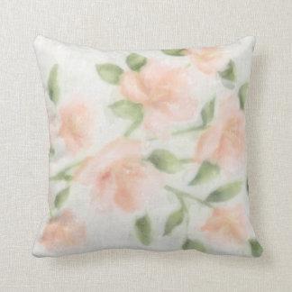 Peach Watercolor Floral Print Pillow