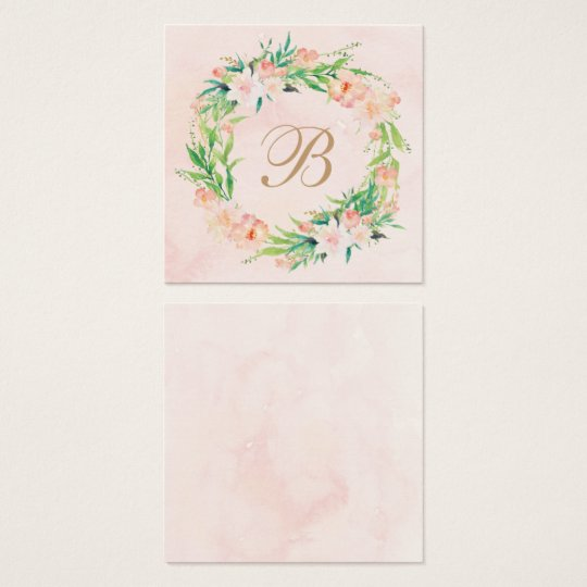 Peach Watercolor Floral Wedding Name Plate Card