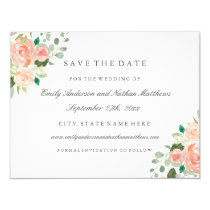 Peach Watercolor Floral Wedding Save The Date Card
