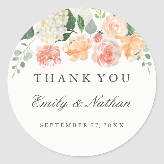 peach watercolor floral wedding thank you sticker zazzle com