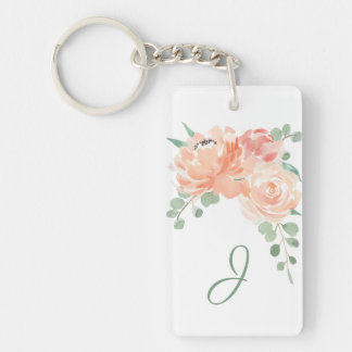 Peach Watercolor Floral with Your Monogram Keychain