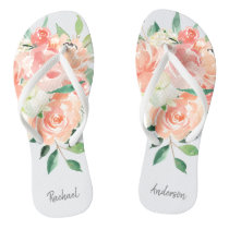 Peach Watercolor Floral with Your Name Flip Flops