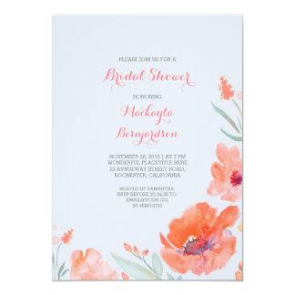 Peach Watercolor Florals Cute Bridal Shower 5x7 Paper Invitation Card