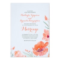 Peach Watercolor Florals Summer Wedding Invites