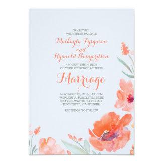 Peach Watercolor Florals Summer Wedding Invites