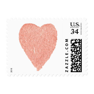 Peach Watercolor Heart Postage