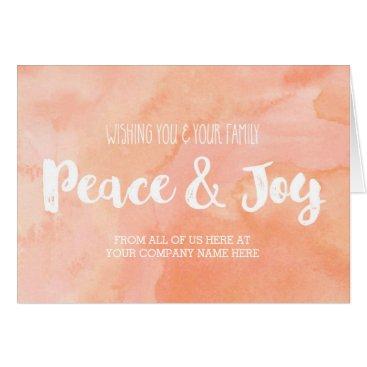 Christmas Themed Peach Watercolor Modern Corporate Christmas Card