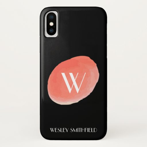 Peach Watercolor Monogram iPhone XS Case