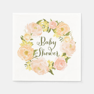 Peach Watercolor Peonies Wreath Baby Shower Napkin