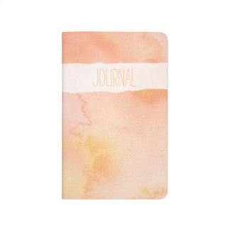 Peach Watercolor Pocket Journal With Custom Text