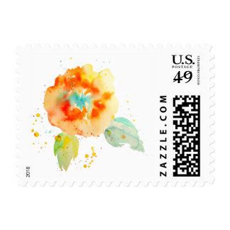 Peach Watercolor Poppies Postage