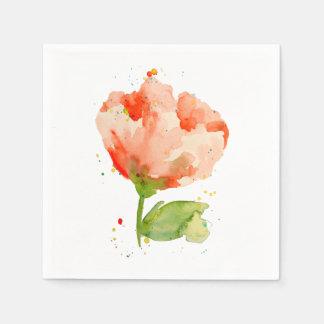 Peach Watercolor Poppy Napkin