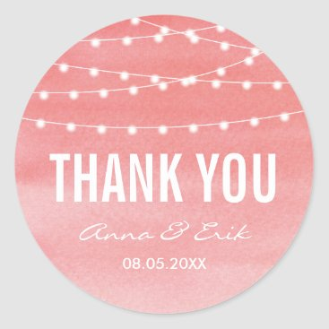 Beach Themed Peach Watercolor String Lights Classic Round Sticker