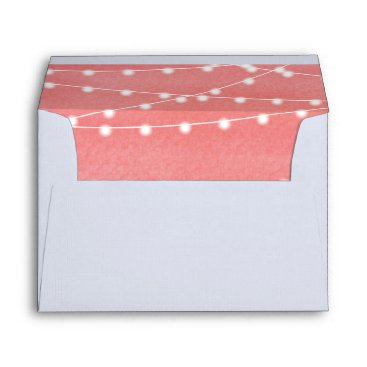 Beach Themed Peach Watercolor String Lights Envelope