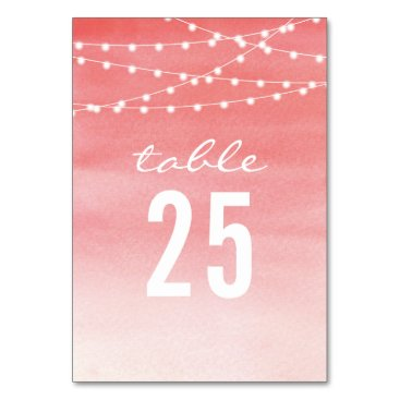 Beach Themed Peach Watercolor String Lights Table Number Card