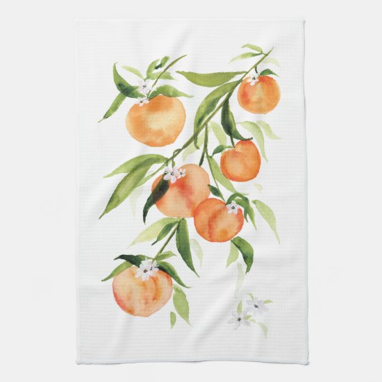Peach watercolor summer fruit Kitchen Towel