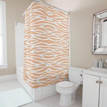Beach Themed Peach Waves Shower Curtain