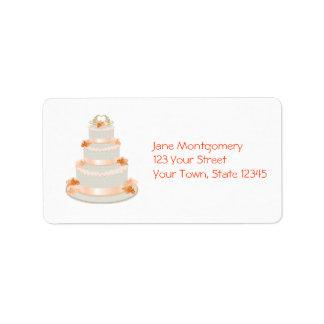 Peach Wedding Cake Label