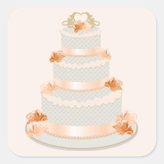 Peach Wedding Cake Sticker
