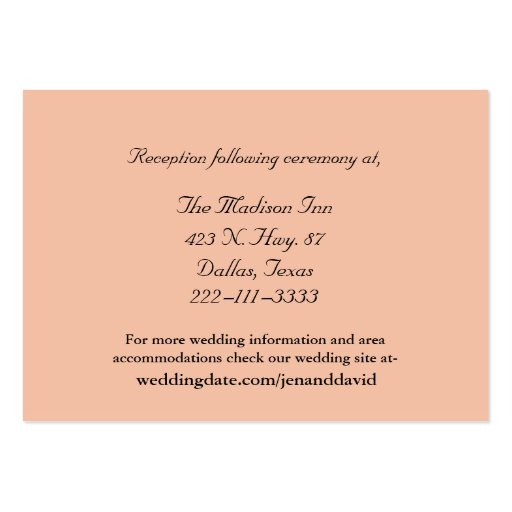 Peach Wedding Enclosure Cards Large Business Cards Pack Of 100