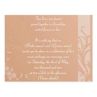 Peach wedding invitation postcard