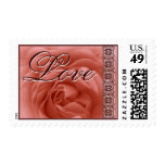 PEACH Wedding Rose Stamp  - Lace Accent