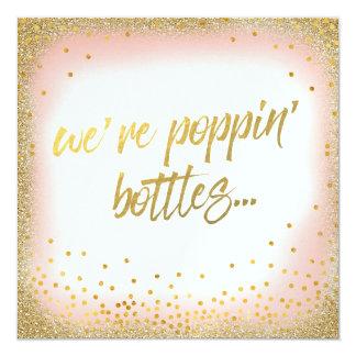 Peach We're Poppin' Bottles Invitation Pearl
