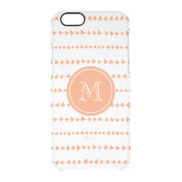 Aztec Themed Peach White Aztec Arrows Monogram Clear iPhone 6/6S Case