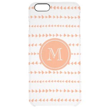 Aztec Themed Peach White Aztec Arrows Monogram Clear iPhone 6 Plus Case