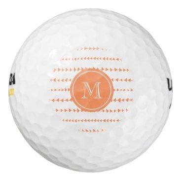 Aztec Themed Peach White Aztec Arrows Monogram Golf Balls