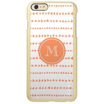 Aztec Themed Peach White Aztec Arrows Monogram Incipio Feather Shine iPhone 6 Plus Case
