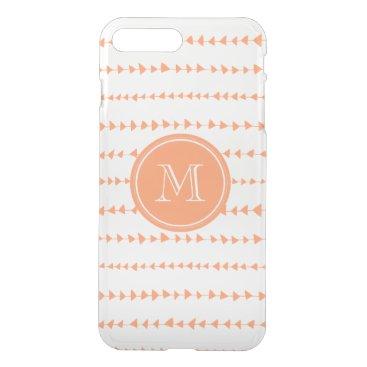 Aztec Themed Peach White Aztec Arrows Monogram iPhone 7 Plus Case