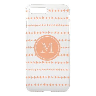 Aztec Themed Peach White Aztec Arrows Monogram iPhone 8 Plus/7 Plus Case