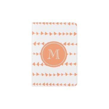 Aztec Themed Peach White Aztec Arrows Monogram Passport Holder