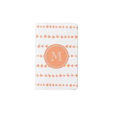 Aztec Themed Peach White Aztec Arrows Monogram Pocket Moleskine Notebook