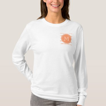 Aztec Themed Peach White Aztec Arrows Monogram T-Shirt