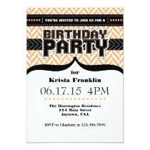 "Peach White Black Herringbone Birthday Invite 5"" X 7"" Invitation Card"