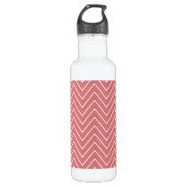 Peach White Chevron Pattern 2A Water Bottle
