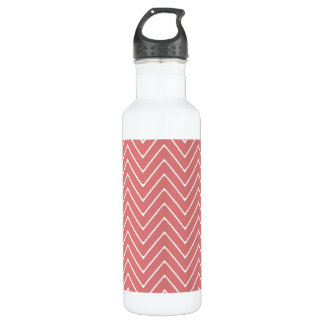 Peach White Chevron Pattern 2A Water Bottle